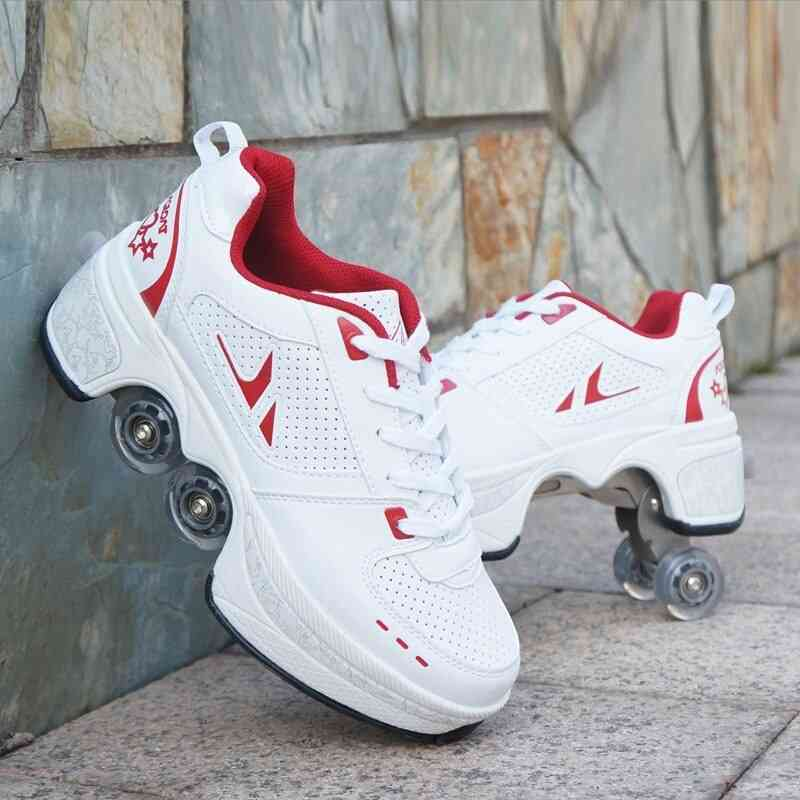 Leather 4 Wheels Double Line Roller Skates Shoes - White And Red