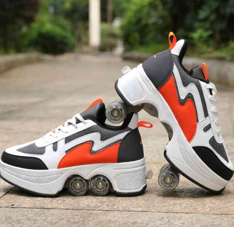Leather 4 Wheels Double Line Roller Skates Shoes