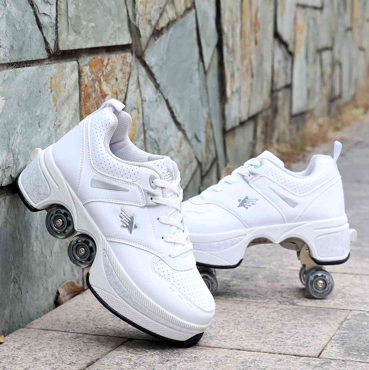 Leather 4 Wheels Double Line Roller Skates Shoes - W
