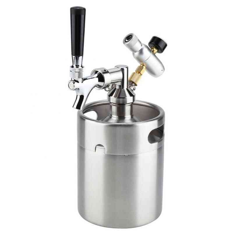 Stainless Steel Keg With Faucet Pressurized Home Brewing Craft, Beer Dispenser System