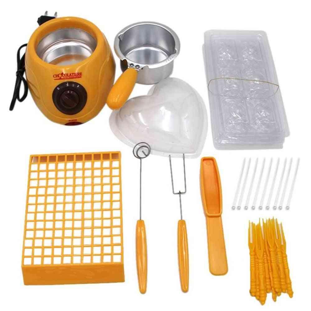 Durable Hot Chocolate Melting Pot, Electric Fondue Melter Machine Set, Diy Tool, Eu Plug, Stainless Steel & Plastic Diy Kitchen Tool