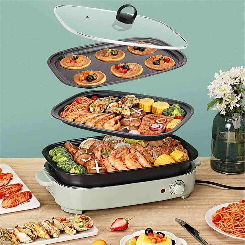 Electric Hot Pot Cooker, Household Multifunctional Cake Baker, Furnace Barbecue Grill With Plates