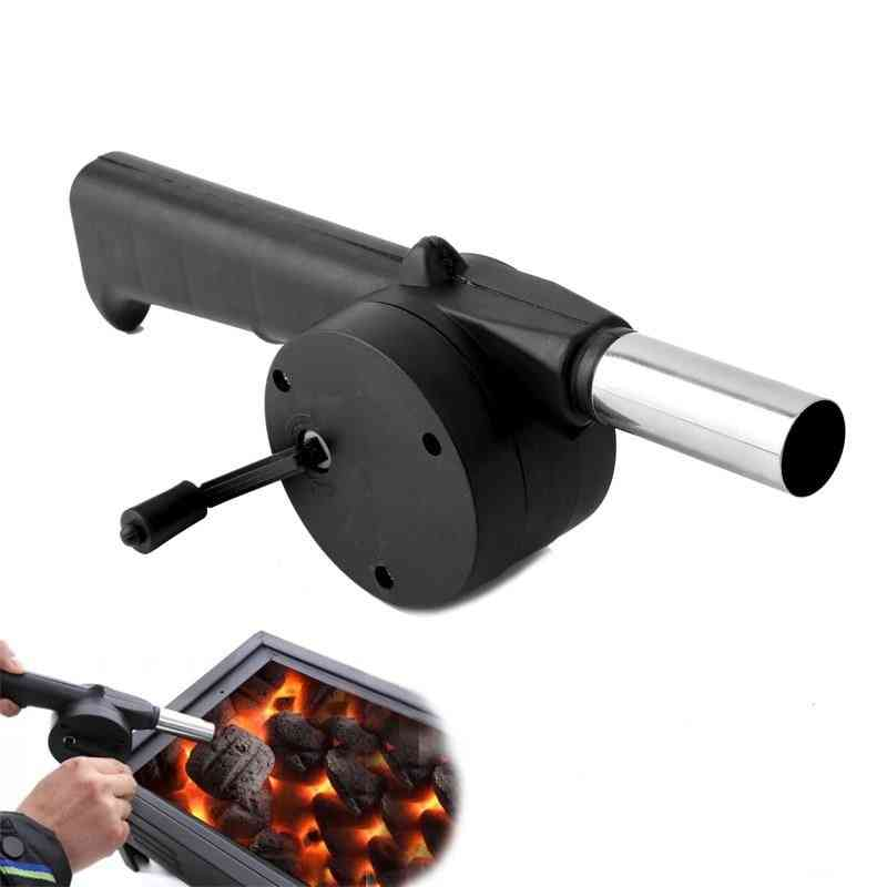 Stainless Steel Outdoor Barbecue Fan, Hand-cranked Air Blower