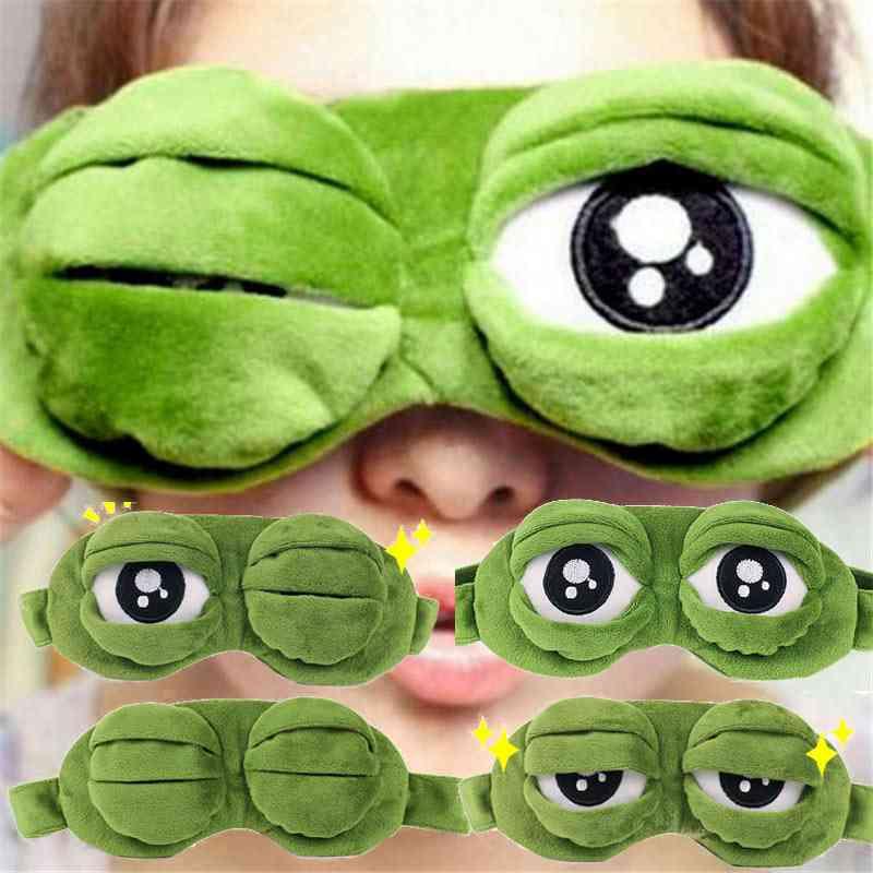 Sad Frog 3d Eye Cover Cartoon Soft Plush Sleeping Mask