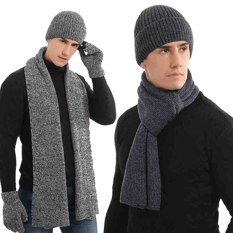 Winter Knitted Beanies Hat Scarf, Glove Set For Men
