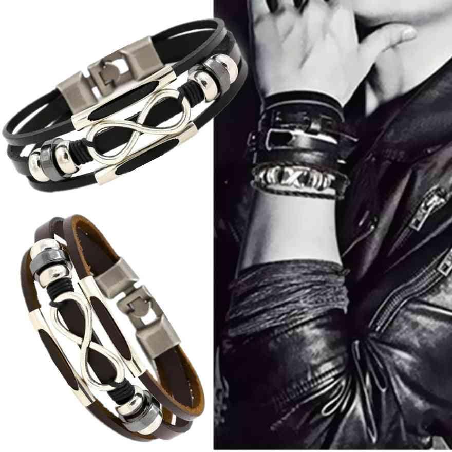 Beautiful Leather Cuff Wristbands, Men Braided Chic Bracelets