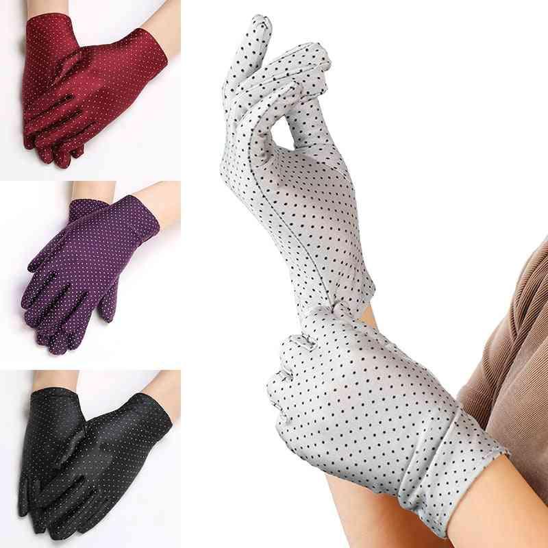 Women Dots Summer Anti-uv Elastic Thin Short Gloves