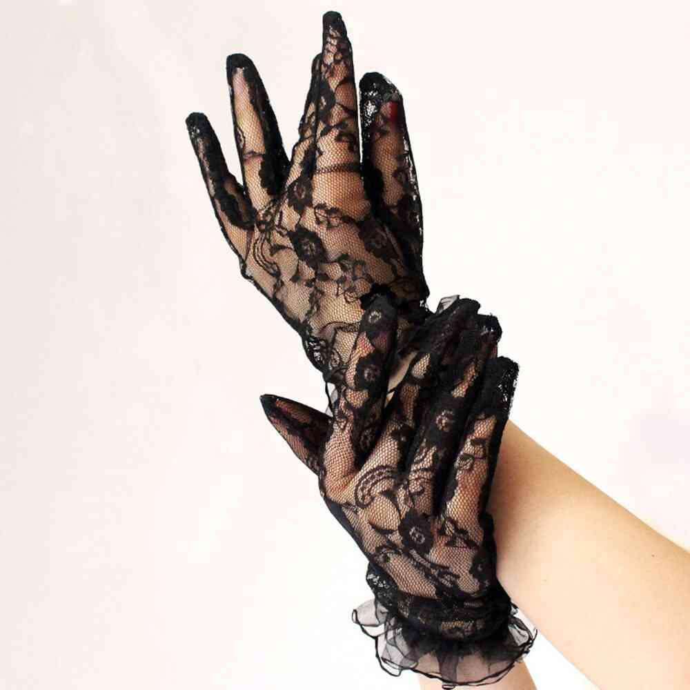 Wrist Length Women Lace Bride Gloves Hand Mittens