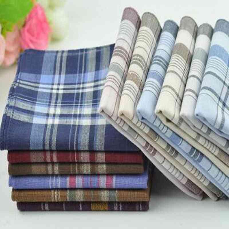 Soft Cotton Classic Check Striped Pattern Comfort Handkerchief
