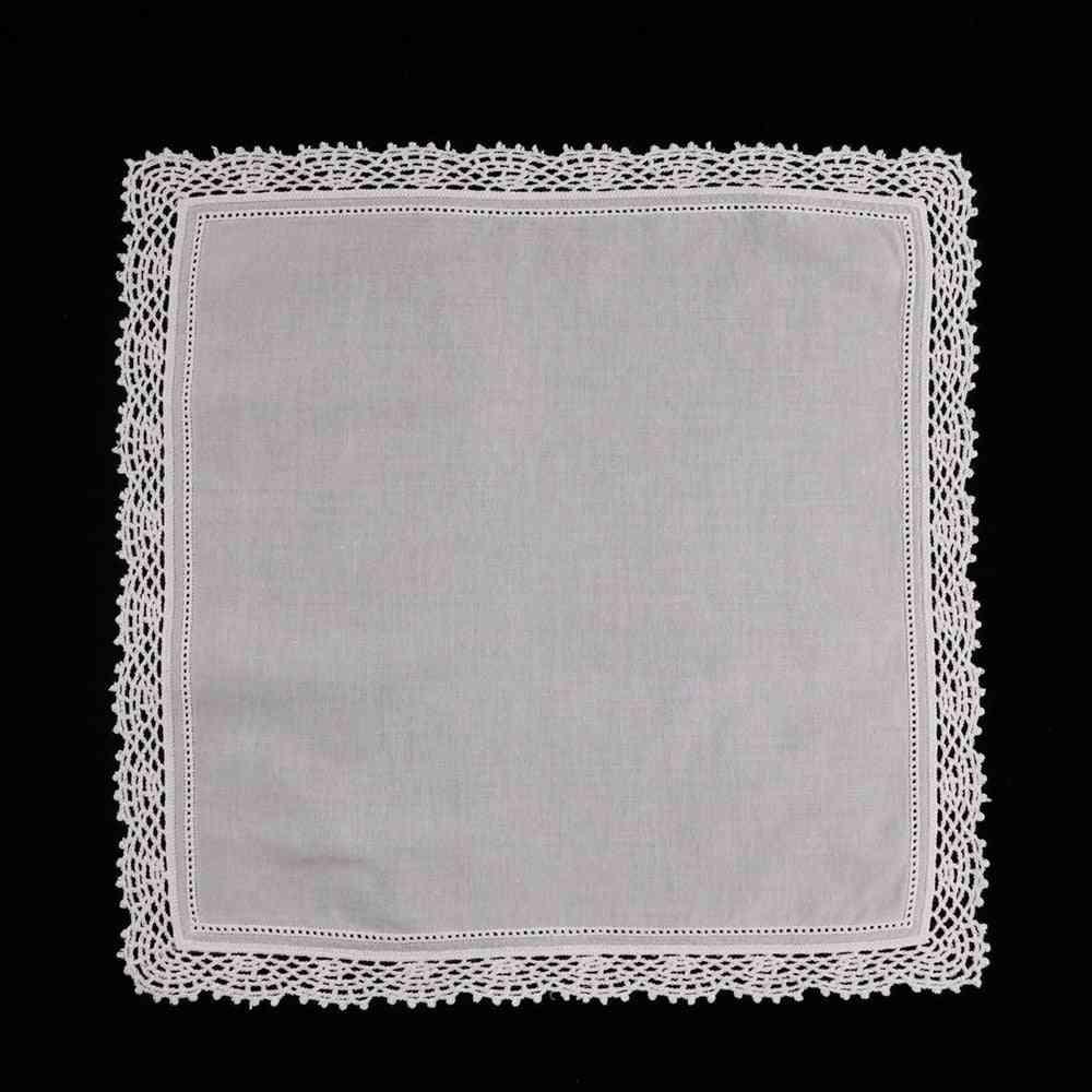 White Premium Cotton Lace Handkerchiefs Crochet Hankies For Women
