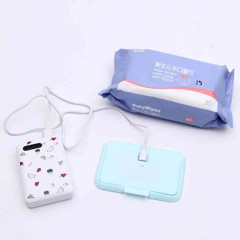 Usb Portable Baby Wipes, Heater, Thermal Warm Wet Towel Dispenser, Napkin, Heating Box Cover,  Tissue Paper Warmer
