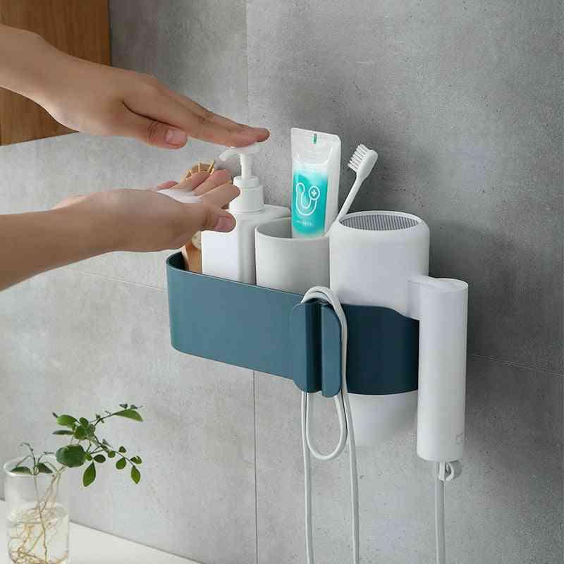 Bathroom Shelf Incognito Self-adhesive Makeup Storage Box Plug Hook Organizing Rack Hairdryer Shelf Bathroom Furniture Sets