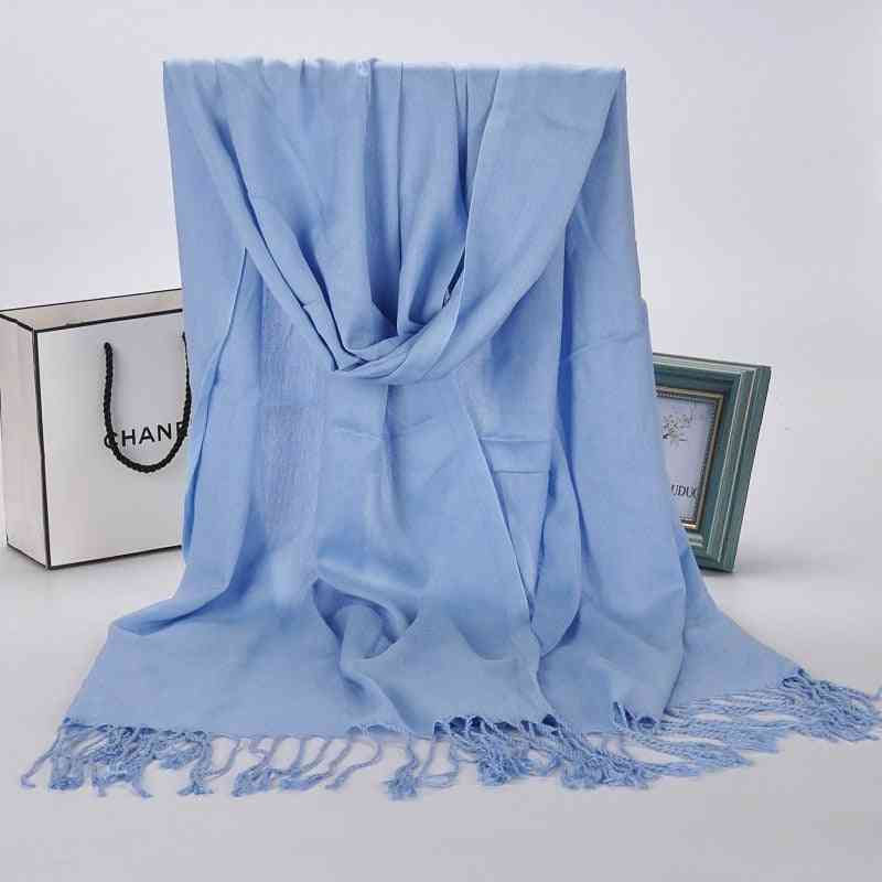 Tassel Winter Pashmina Solid Long Cashmere Headscarves