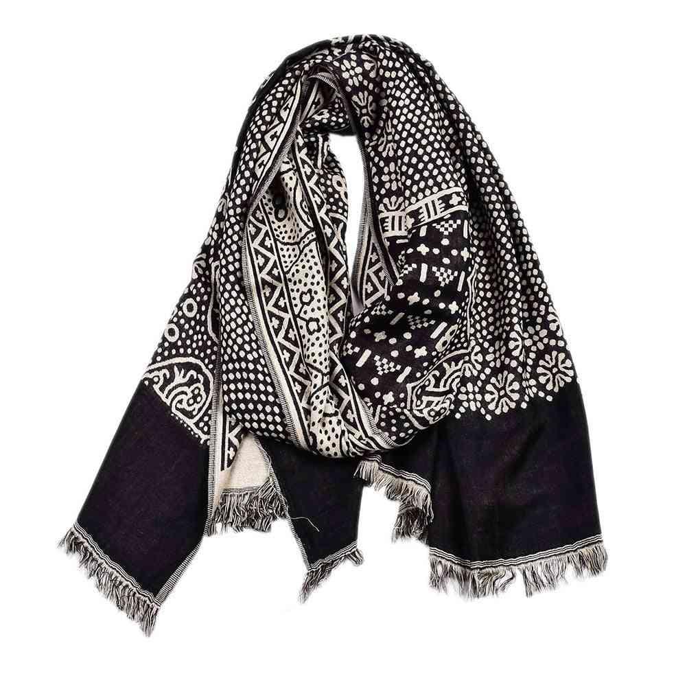 Ethnic Style Navy Cotton Linen Knitted Tassel Men Scarf