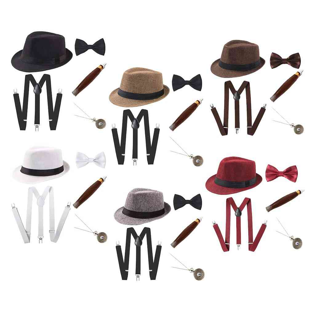Magician Costume Fancy Dress Up Hat Watch Bow Tie Suspender Outfit