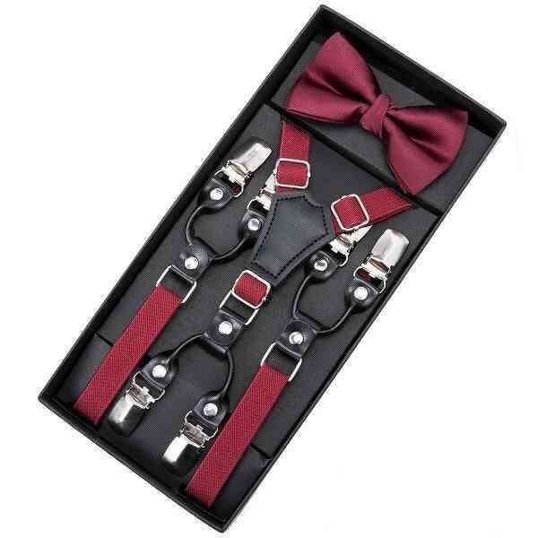 Children Solid Butterfly Suspenders With Bowtie Set