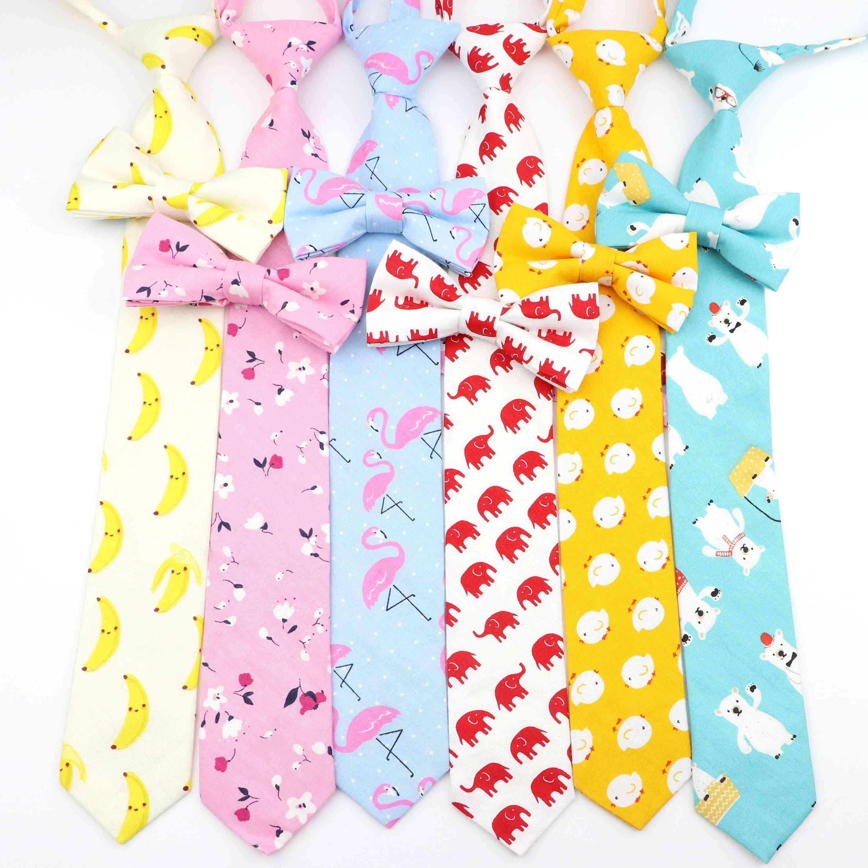 Cotton Cartoon Kids Elastic Necktie Bowtie Set