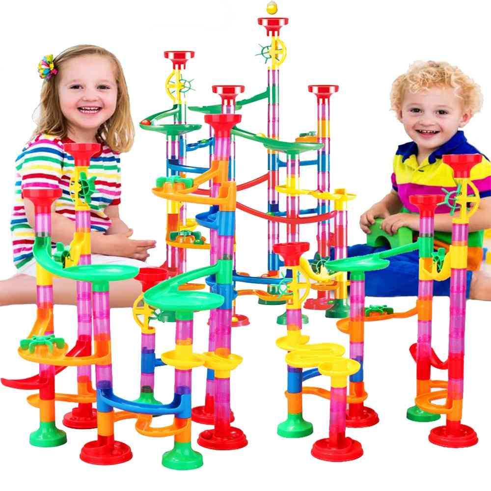 Diy Construction Marble Race Run Maze Ball Track Building Blocks Kids Educational Toy