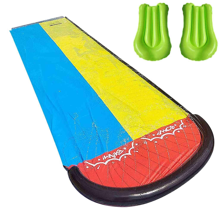 Children Double Surf Water Slide, Outdoor Garden Racing Lawn, Spray Summer, Games Toy
