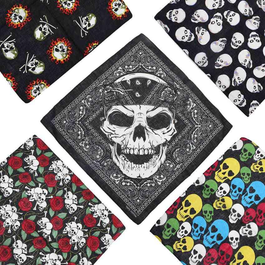 Cotton Skull Bandana Square Scarf, Handkerchief