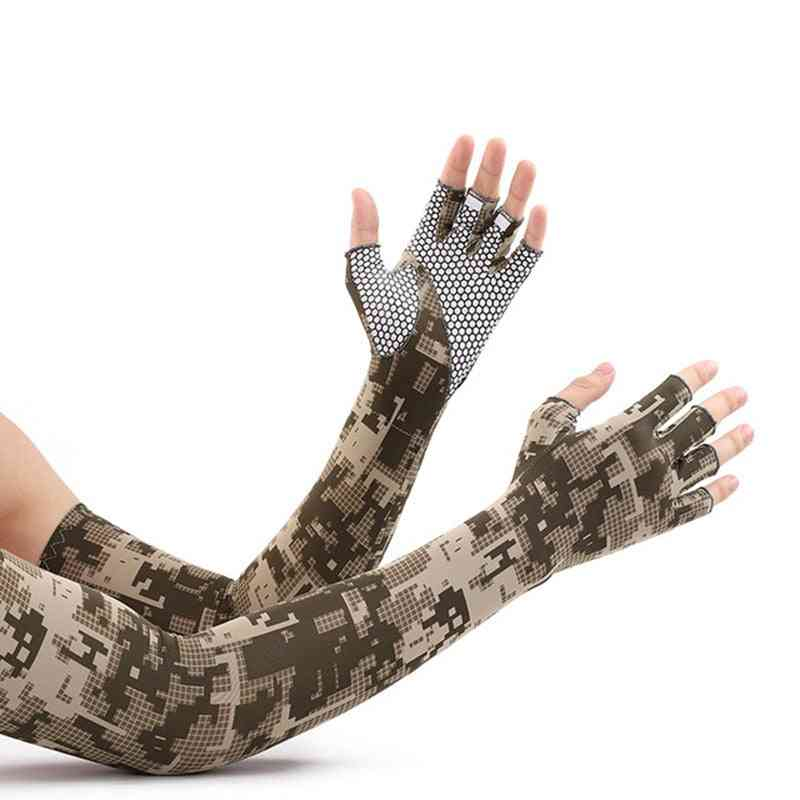 Sunscreen Anti-skid Half Finger Arm Ice Silk Gloves