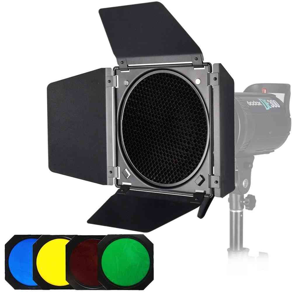 Bd-04 Barn Door + Honeycomb Grid + 4 Color Filter For Bowen Mount Standard Reflector Photography Studio Flash Accessories