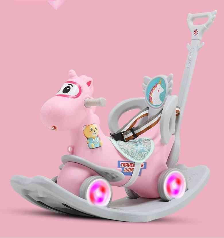 Infant Shining Rocking Horse Sliding Dual-purpose Wooden Horse Toy Multifunctional Car Indoor