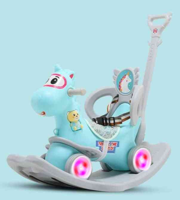 Multifunctional Baby Rocking Car Indoor New Arrival Infant Shining Rocking Horse Sliding Dual-purpose Wooden Horse Toy