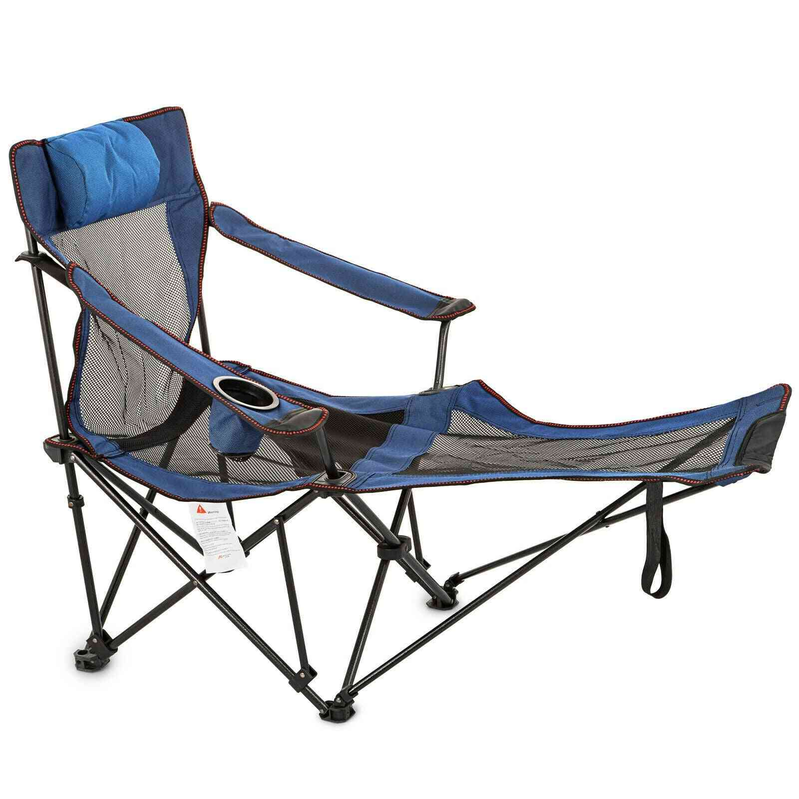 Folding Lounge Chair Blue Relax Sofa  Armchair Camping