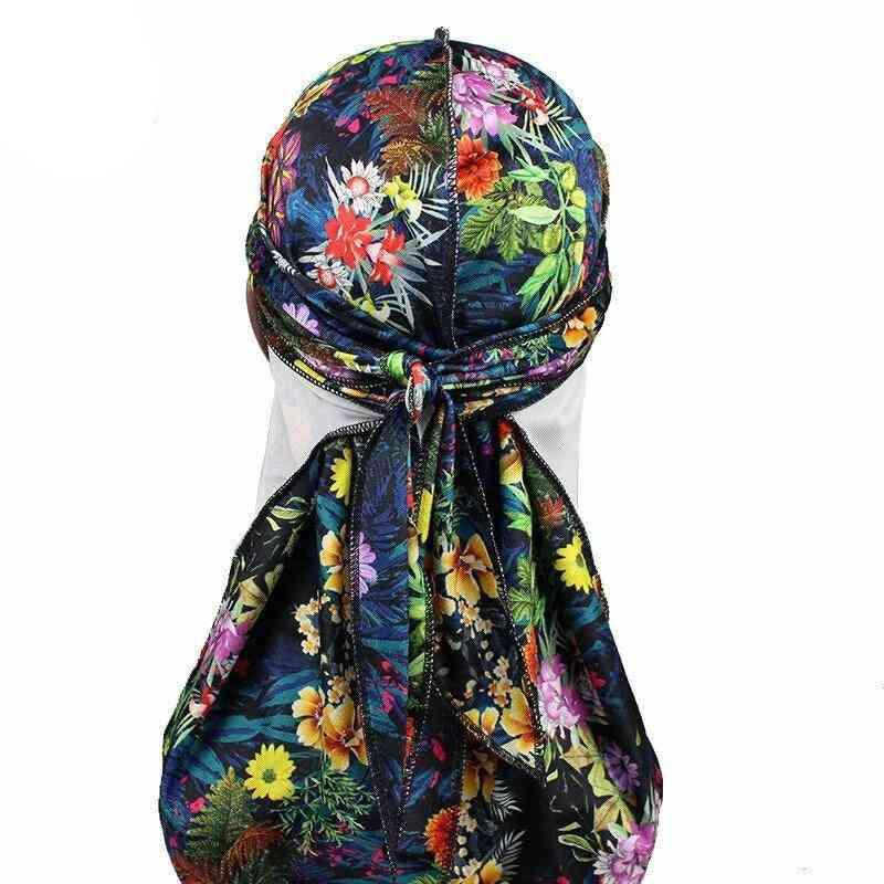 Men's Leaves Print Velvet Durags Bandanas Headwear