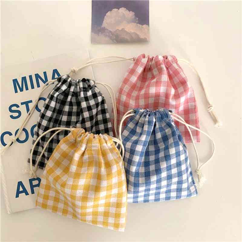 Cotton Fabric Lattice Drawstring Storage Pouch Packaging Bag