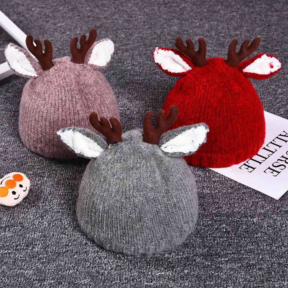 Autumn Christmas Cute Reindeer Baby Beanie Soft Crochet Knitted Hat For,, Kids