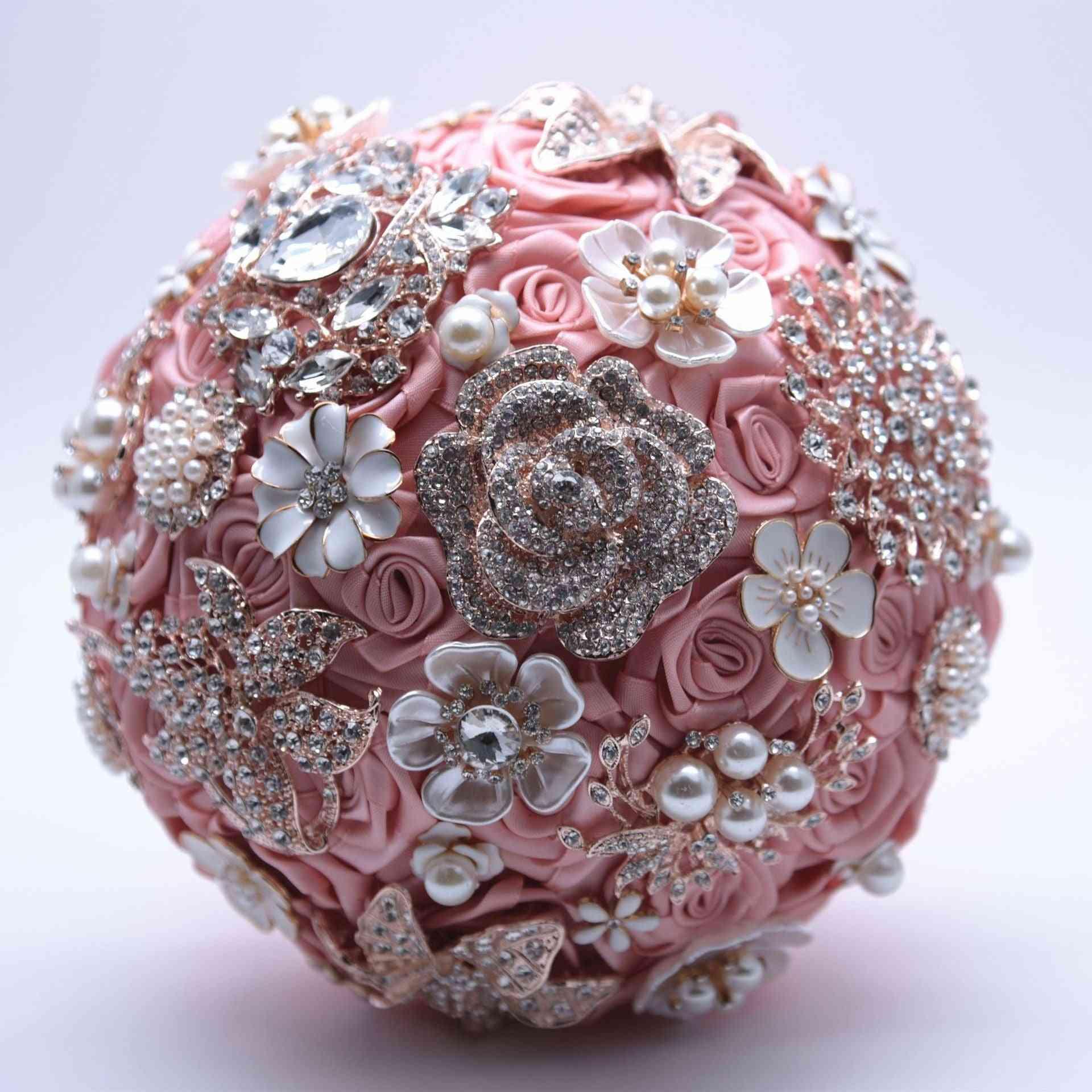 Silk Wedding Flowers Rhinestone Brooch Bouquet
