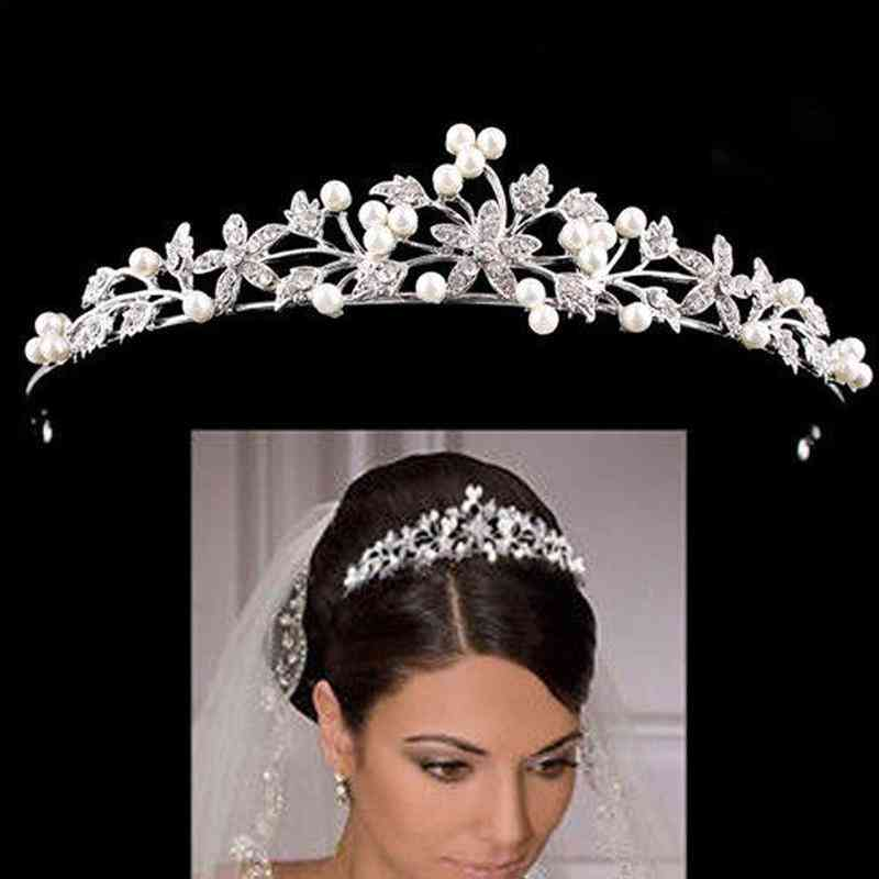 Rhinestone Pearl Bridal Crown Headband Headdress