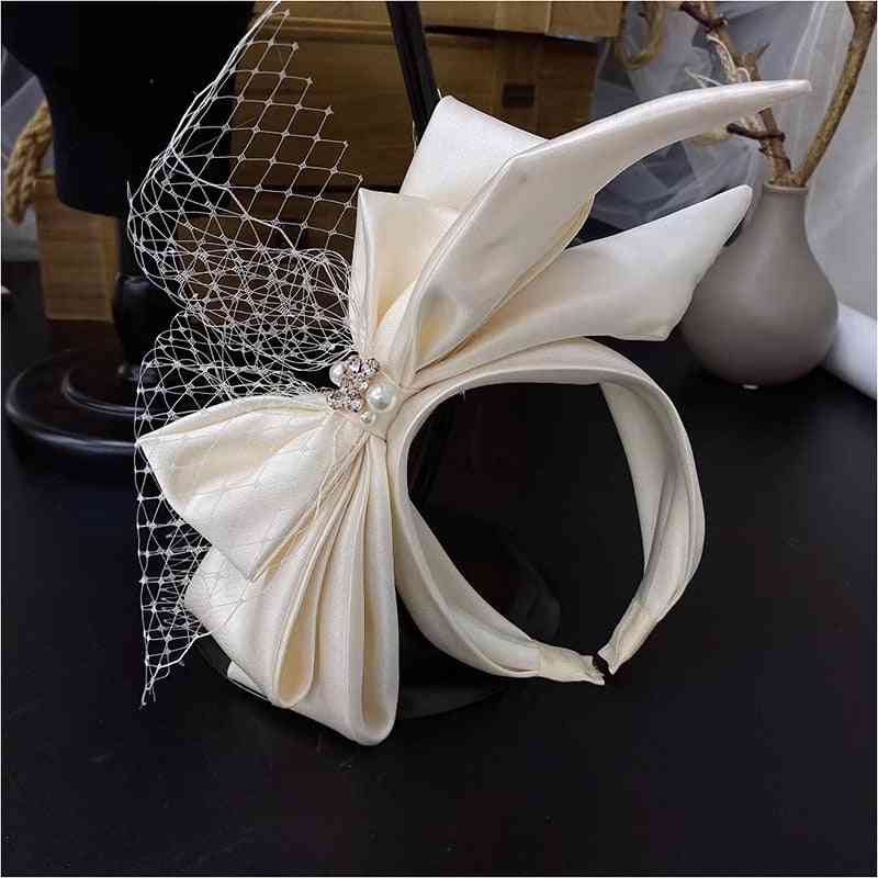 Vintage Champagne Mesh Bow Bridal Headdress