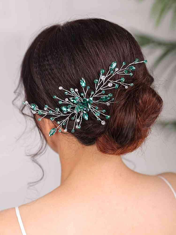 Wedding Bridal Hair Comb Rhinestone Green Headband
