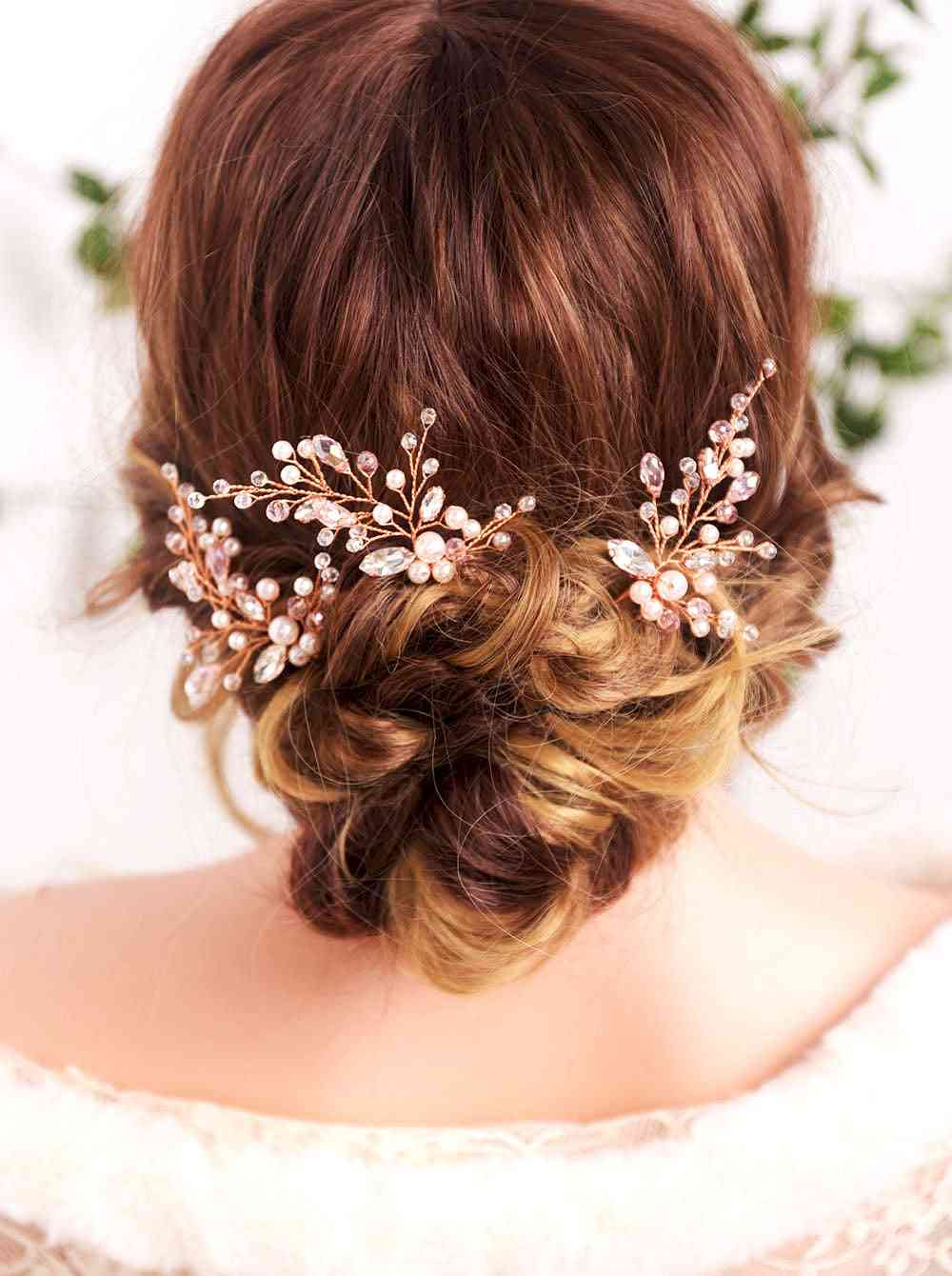 Rose Gold Rhinestones Crystal Pearls Hair Pin