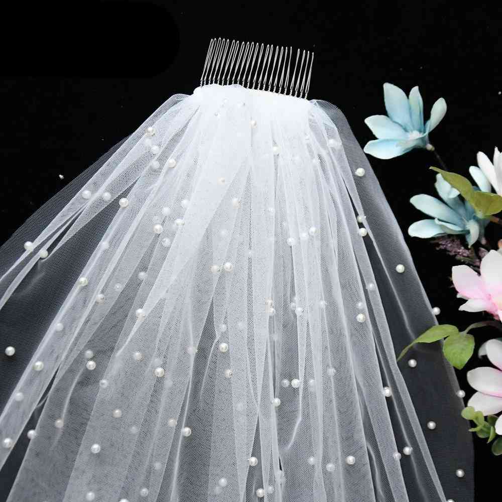 Luxury Tulle Bridal Veil Pearl With Hair Comb