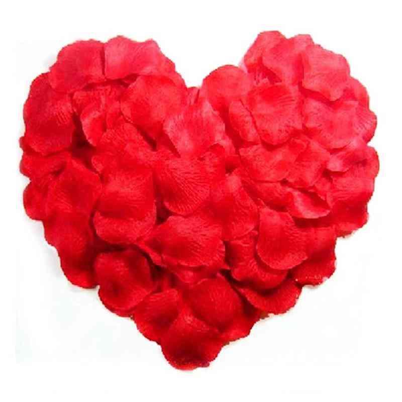 500pcs Lifelike Artificial Silk Red Rose Petals Decorations