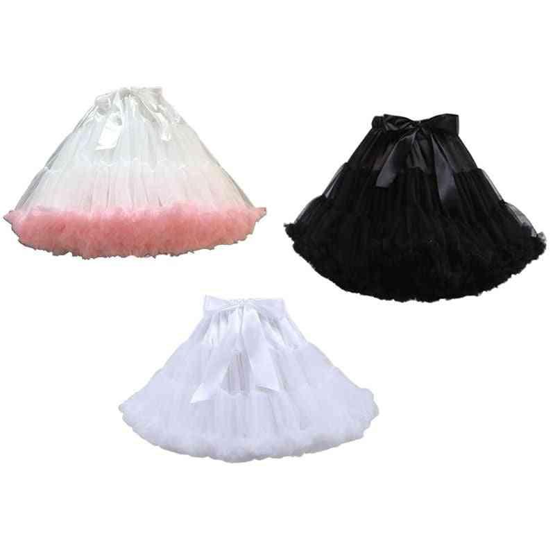 Puffy Tutu Skirt Layered Ballet Dance Big Bowknot Underskirt
