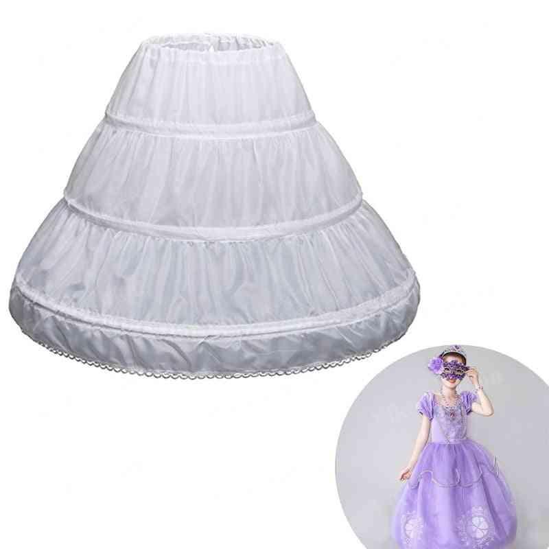 Crinoline Lace Trim Flower Girl Underskirt Elastic Waist