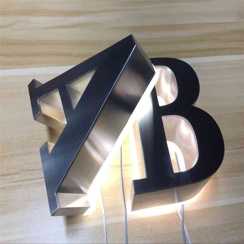 Outdoor Stainless Steel Halo-lit Letterings, Back-illuminated Store Signs