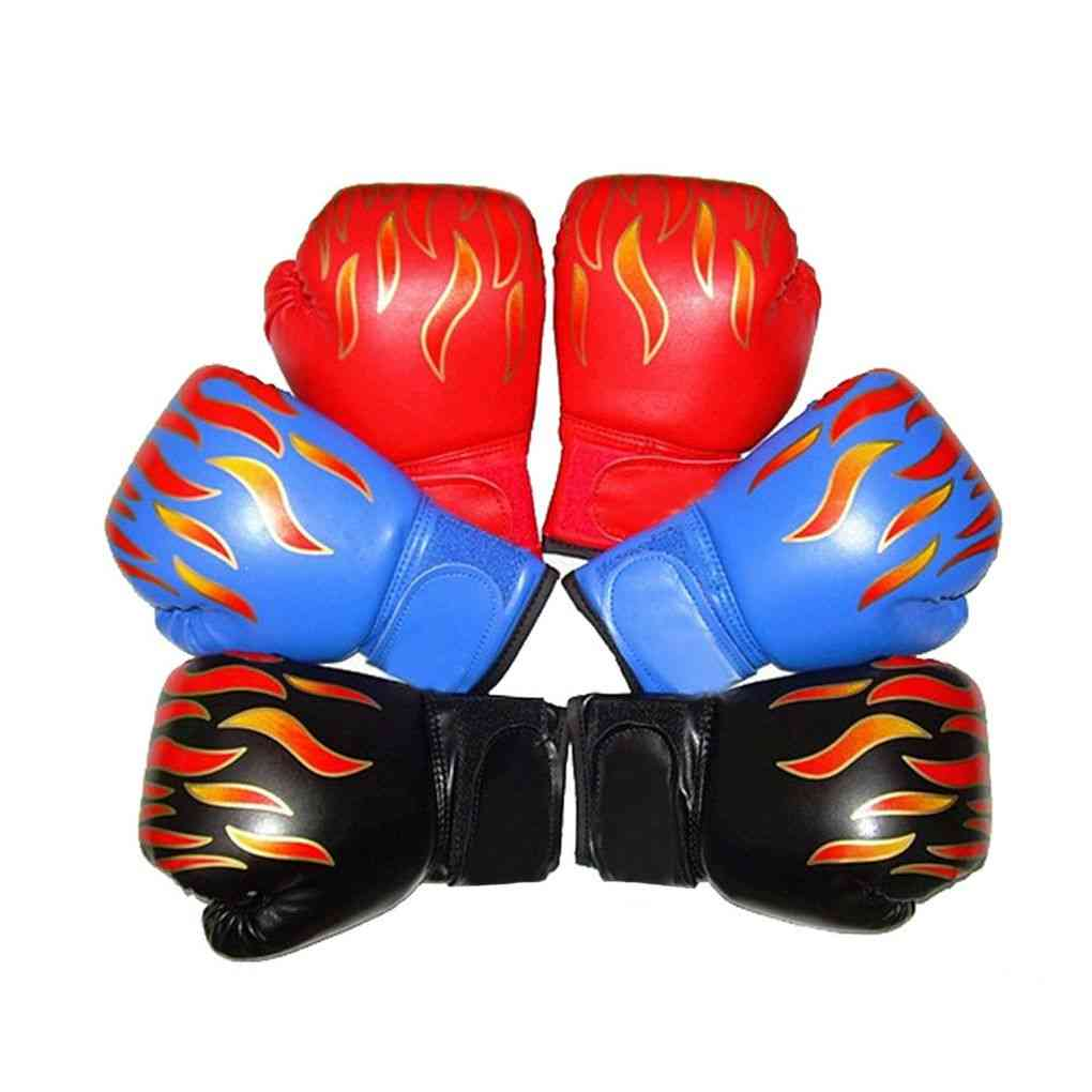Kids,, Boxing Gloves, Flame Mesh, Breathable Pu Leather, Training Glove