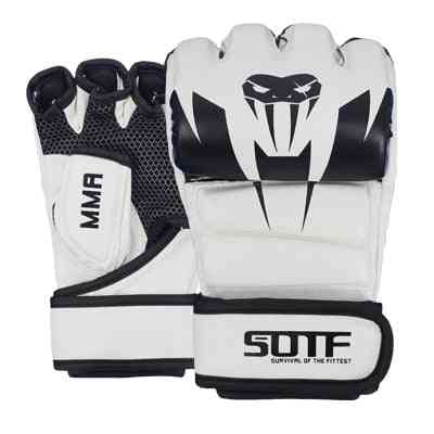 Mma Half Finger Breathable Training Fighting Boxing Gloves, Fight Glove Pads