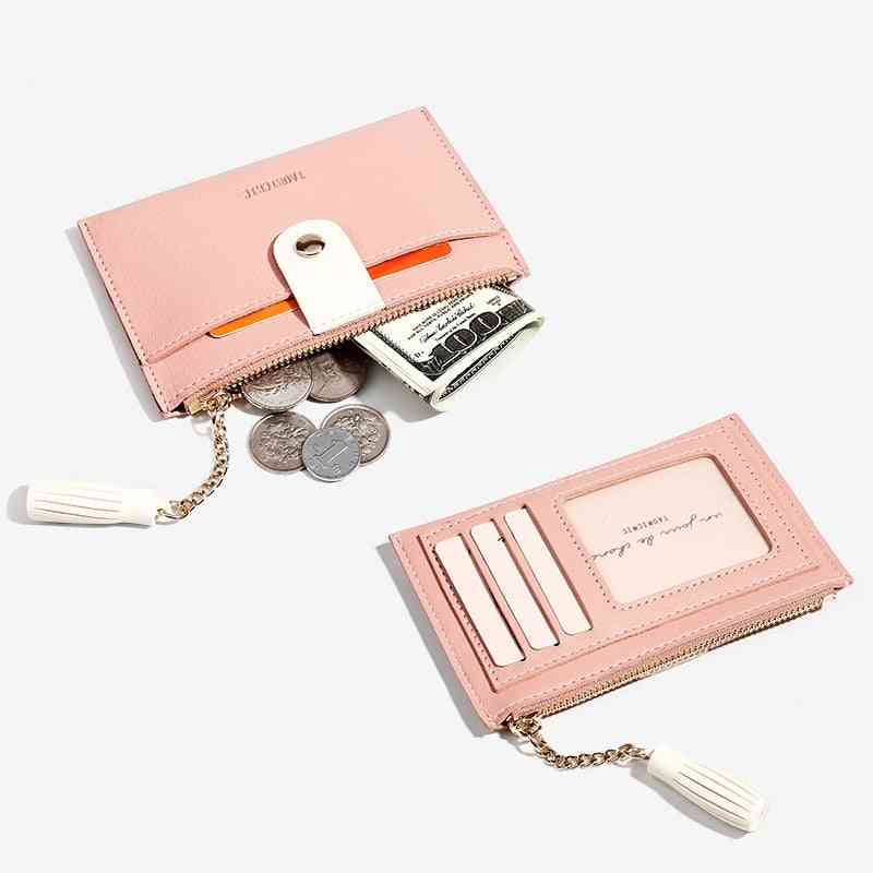 Women Leather Casual Zipper Buckle Small Wallets Creative Card Bag Coin Purse