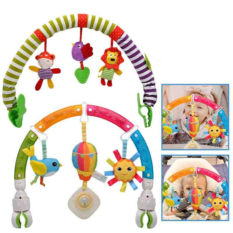 Baby Stroller Pendant Bed Clip Hanging Rattle Toy Music Fun Early Education Color Car Seat Toy 0-12 Months