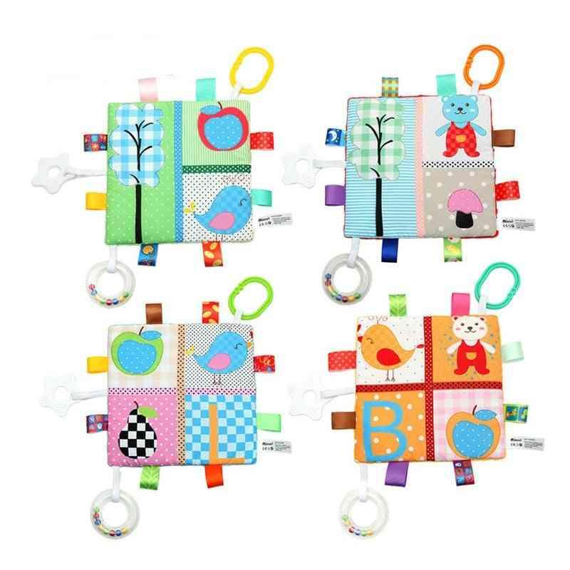 Baby Comfort Towel Soft Plush Comfort Toy Cartoon Label Rattle Multifunctional Education Sensory Cognitive For Kid
