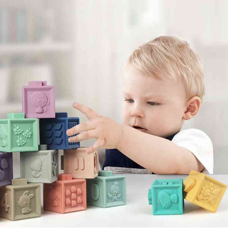 Baby Soft Rubber Building Blocks Bath Grasp Hand Blocks Diy Rubber Block Toy For Early