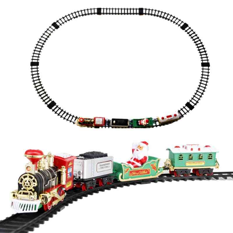 Toy Train Set With Lights And Sounds, Christmas Round Shape Railway Tracks For Around The Tree, Battery Operated