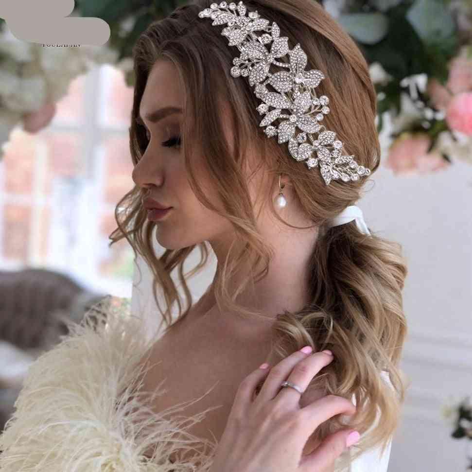 Bridal Hair Accessories, Alloy Flower Bridal Crowns